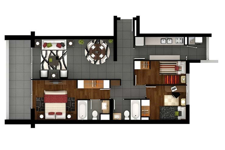 Modelo 3d del proyecto brisas de costa laguna for Modelos mini departamentos interiores