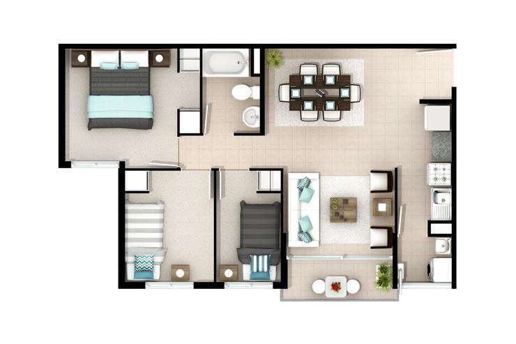 Cipreses de bellavista departamentos inmobiliaria aconcagua for Modelos mini departamentos interiores
