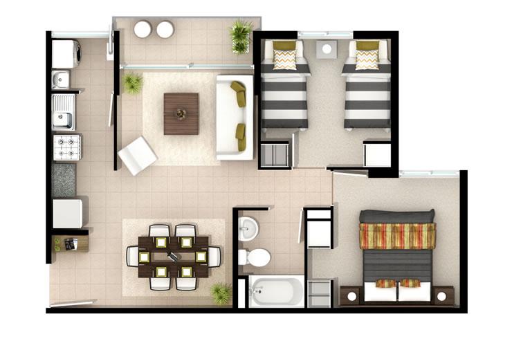 Cipreses de bellavista departamentos inmobiliaria aconcagua for Modelos de banos para departamentos